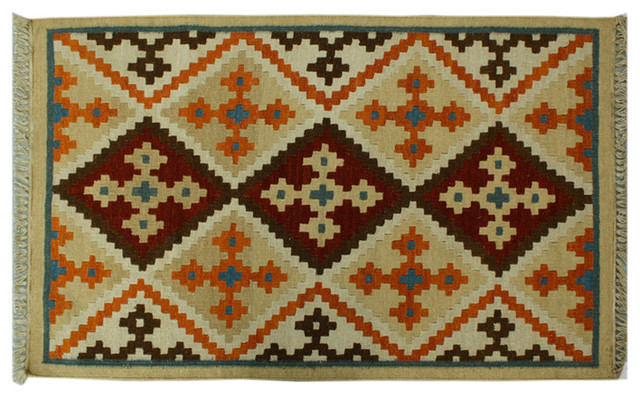 Tribal and Geometric Flat Weave Hand Woven Anatolian Kilim Sh6284 traditional-area-rugs