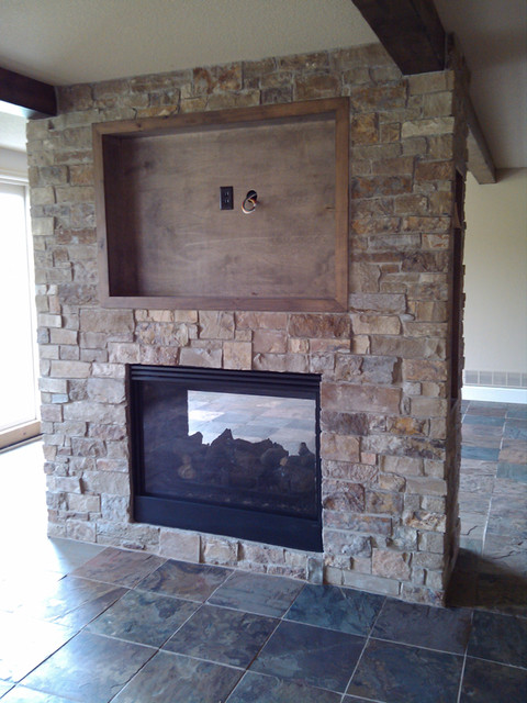 See Through Fireplace Traditional Indoor Fireplaces Kansas City By Sturgis Material Inc
