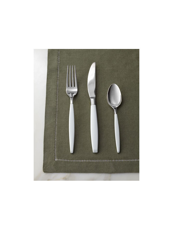 "Horchow - Five-Piece White ""West 4th Street"" Flatware Place Setting - Sleek yet sassy, this flatware from kate spade new york features slender handles enameled in classic white. Made of 18/10 stainless steel. Dishwasher safe. Five-piece place setting includes dinner knife, dinner fork, salad fork, spoon, and tablespoon. Imported."