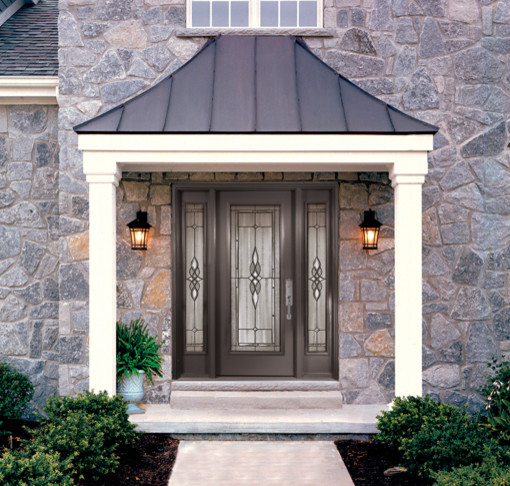 Decorative Steel Front Entry Doors : Single steel door with a doorlite sidelites