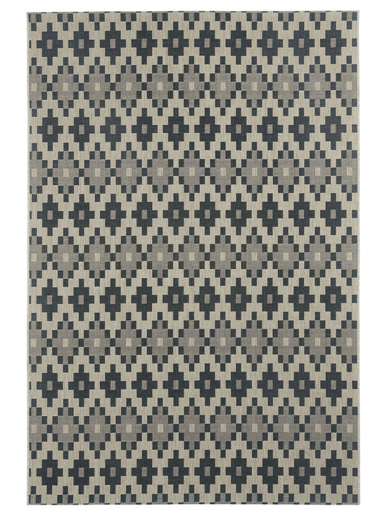 """Finesse Pueblo rug in Noir - An esteemed """"Capel Anywhere"""" rug collection woven on precision machine looms in Europe. These versatile rugs can be used in high traffic areas indoors - like kitchens and sunrooms - or to dress up covered porches and decks outside."""