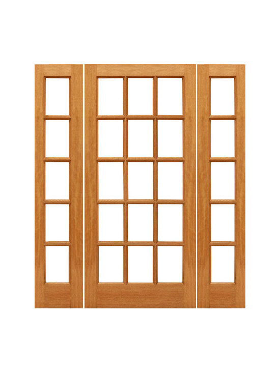 "Pre-hung 15-lite Patio Brazilian Mahogany Wood IG Glass Sidelites Door - SKU#    15-lite-Ext-1-2Brand    AAWDoor Type    FrenchManufacturer Collection    Mahogany French DoorsDoor Model    Door Material    WoodWoodgrain    MahoganyVeneer    Price    1568Door Size Options    [30""+2(14"") x 80""] (4'-10"" x 6'-8"")  $0[30""+2(18"") x 80""] (5'-6"" x 6'-8"")  $0[32""+2(14"") x 80""] (5'-0"" x 6'-8"")  $0[32""+2(18"") x 80""] (5'-8"" x 6'-8"")  $0[36""+2(14"") x 80""] (5'-4"" x 6'-8"")  $0[36""+2(18"") x 80""] (6'-0"" x 6'-8"")  $0Core Type    SolidDoor Style    Door Lite Style    Full Lite , 15 LiteDoor Panel Style    Ovolo StickingHome Style Matching    Craftsman , Colonial , Cape Cod , VictorianDoor Construction    Engineered Stiles and RailsPrehanging Options    PrehungPrehung Configuration    Door with Two SidelitesDoor Thickness (Inches)    1.75Glass Thickness (Inches)    1/2Glass Type    Double GlazedGlass Caming    Glass Features    Insulated , Tempered , low-E , Beveled , DualGlass Style    Clear , White LaminatedGlass Texture    Clear , White LaminatedGlass Obscurity    No Obscurity , High ObscurityDoor Features    Door Approvals    FSCDoor Finishes    Door Accessories    Weight (lbs)    850Crating Size    25"" (w)x 108"" (l)x 52"" (h)Lead Time    Slab Doors: 7 daysPrehung:14 daysPrefinished, PreHung:21 daysWarranty    1 Year Limited Manufacturer WarrantyHere you can download warranty PDF document."