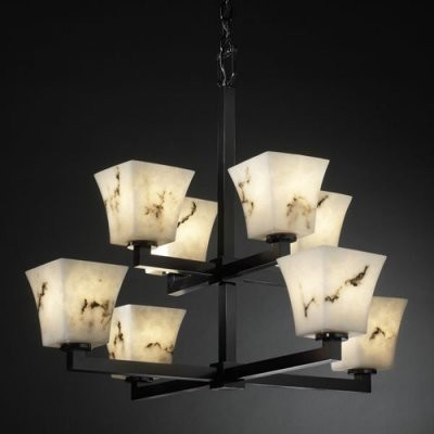 Justice Design Group LumenAria FAL-8828-40-MBLK Modular 8-Light 2-Tier Chandelie modern chandeliers