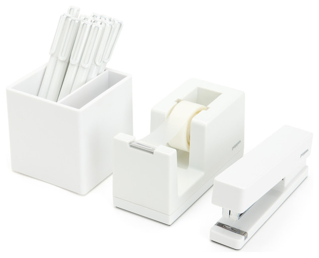 White desk accessories set best home design 2018 for Modern office decor accessories