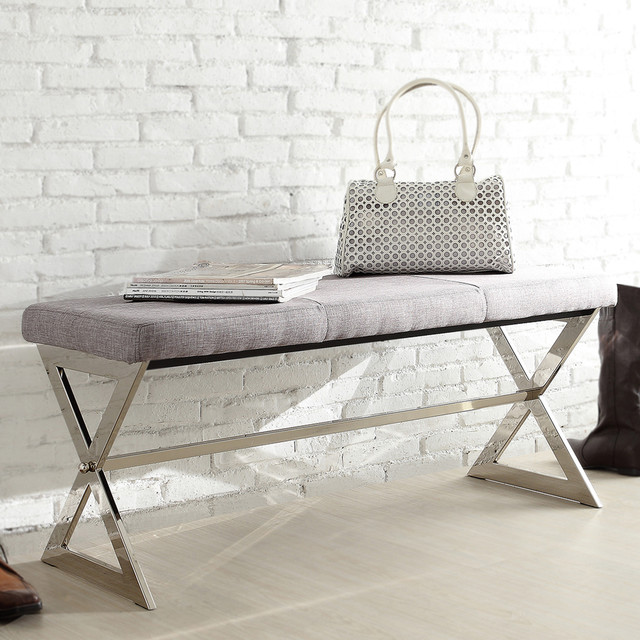 INSPIRE Q Southport Grey Linen 40 inch Metal Bench