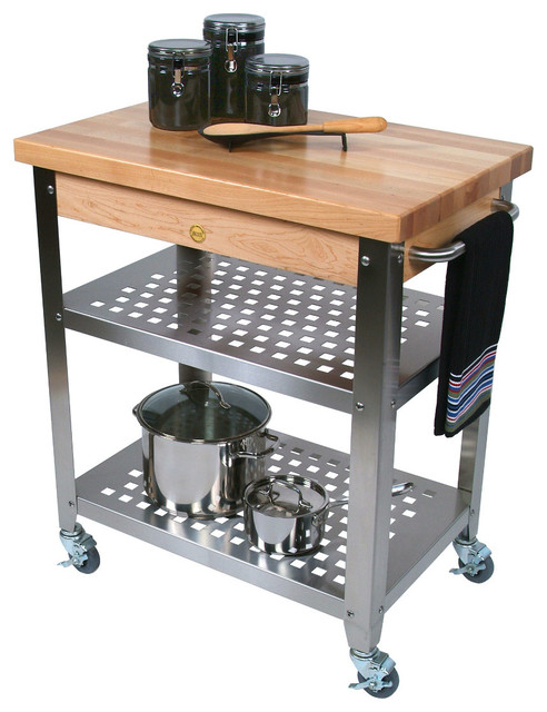 John Boos Maple Cucina Rosato Butcher Block Steel Cart Contemporary Kitchen Islands And