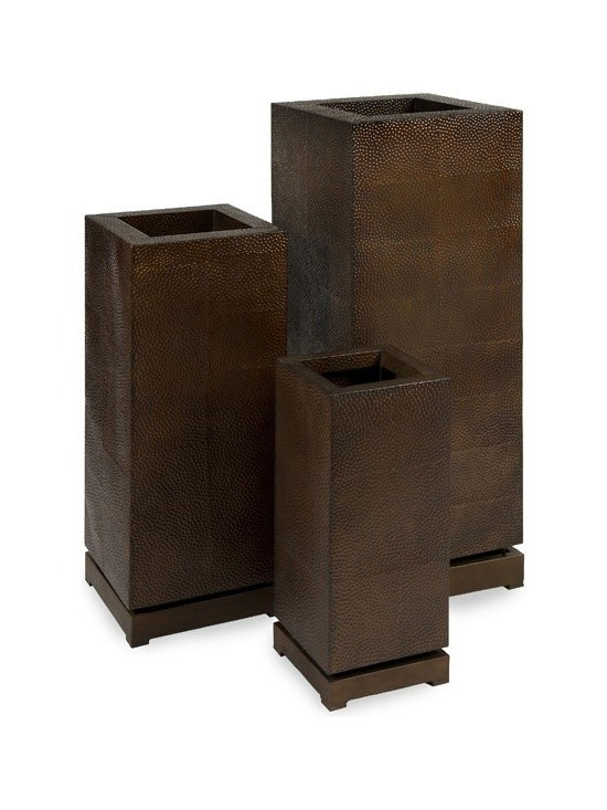 """IMAX CORPORATION - CK Tall 5th Avenue Planters - Set of 3 - Large, simple shapes in unique, worked bronze metal make a real statement. With a removable base, the tall 5th Avenue Planters have an interior shelf that can be adjusted to different heights. Set of three. Set of 3 in various sizes measuring around 15.75""""L x 15.75""""W x 42.75""""H each. Shop home furnishings, decor, and accessories from Posh Urban Furnishings. Beautiful, stylish furniture and decor that will brighten your home instantly. Shop modern, traditional, vintage, and world designs."""