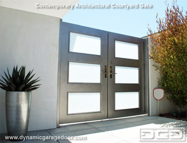 A Steel & Frosted Glass Gate With Modern Chrome Locking Handle & Electric Strike - Contemporary ...