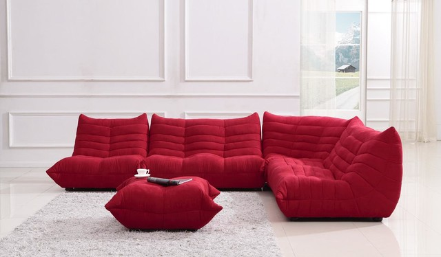 Bloom Red Fabric Sectional Sofa Contemporary Sectional