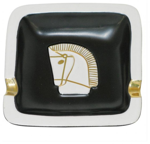 Black and White Horse Ashtray traditional-home-decor