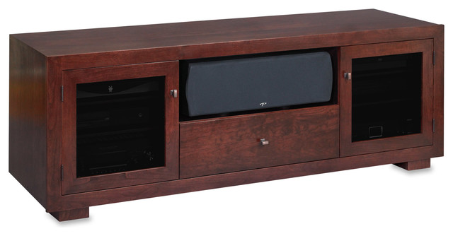 Standout Haven EX 72w Solid Wood Media Console, Espresso on Cherry, Tinted Doors - Contemporary ...