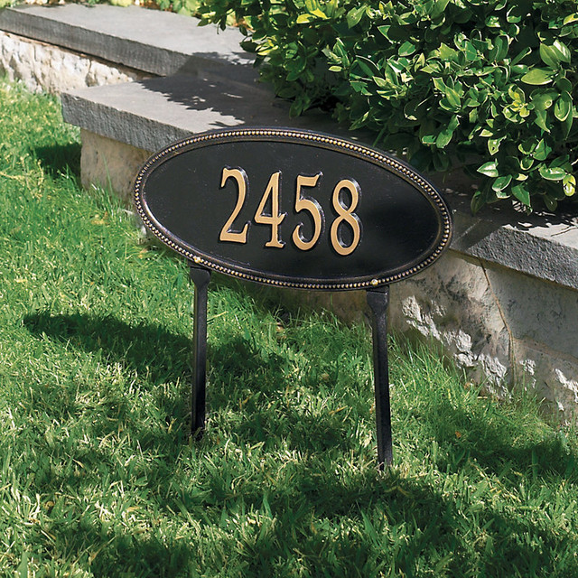 Beaded oval one line lawn address sign traditional - House number signs for yard ...
