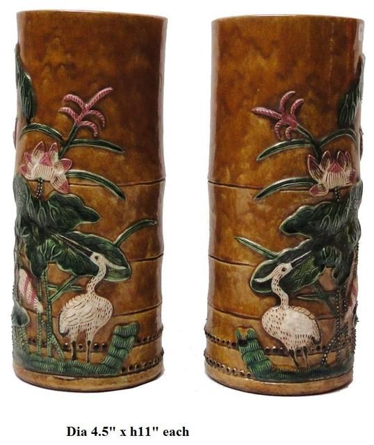 Pair Oriental Bamboo Look Ceramic Column Vase asian-vases