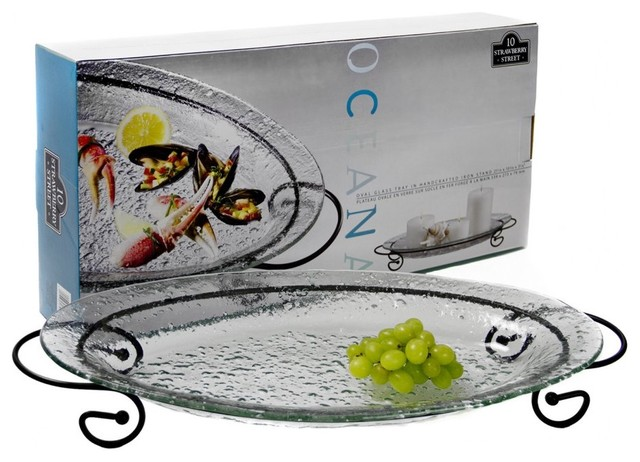 10 Strawberry Street Oceana Oval Glass Platter with Metal Stand - 19.25 in. traditional-platters