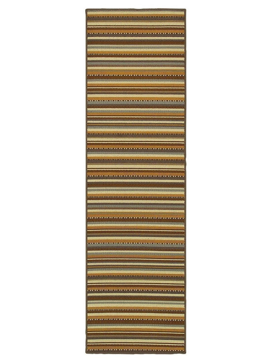 "Oriental Weavers - Indoor/Outdoor Bali Hallway Runner 2'3""x7'6"" Runner Gray-Gold Area Rug - The Bali area rug Collection offers an affordable assortment of Indoor/Outdoor stylings. Bali features a blend of natural Gray-Gold color. Machine Made of Polypropylene the Bali Collection is an intriguing compliment to any decor."