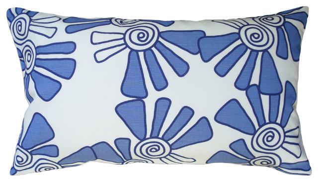 Hand Printed Linen/Cotton Pillow - Alex, Cobalt, 12 x 20 contemporary-decorative-pillows