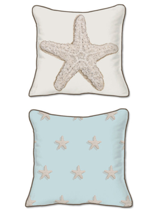 Casart Coverings - Starfish Pillow Slipcover - Reversible, all-weather, washable pillow slipcover