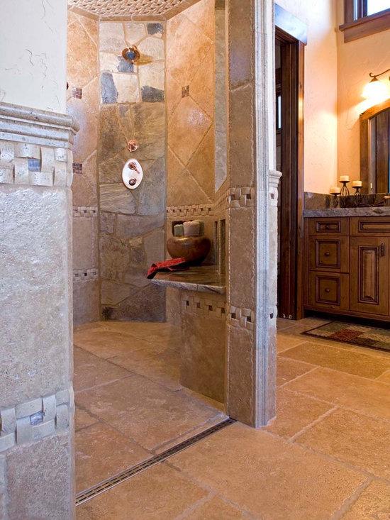 Mountain Rustic Zero-Entry Shower -