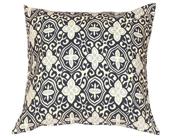 """Pillow Decor - Pillow Decor - Alhambra Handprint Indigo 22"""" Throw Pillow - Inspired by Moorish tile and stamped tin ceilings with geometry that feels new and old at the same time, this 100% cotton pillow is something to admire. The exquisite handcrafted print is in a soft indigo and sky blue set against a cream background."""