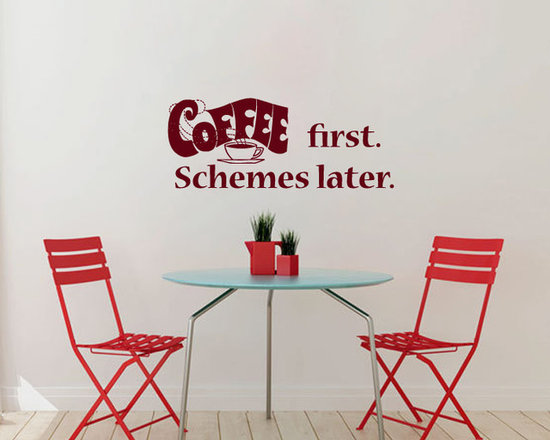 Vinyl Decals Coffee First Schemes Later Quote Home Wall Decor Removable Sticker -