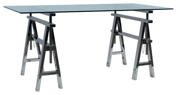 ... Style Adjustable Height Stainless Steel Work Desk transitional-desks