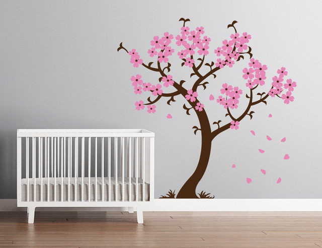 Cherry blossom tree wall decal 2017 grasscloth wallpaper for Cherry blossom tree wall mural