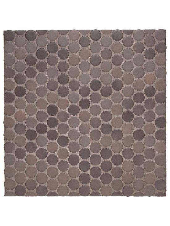 Waterworks Penny Tile in Chocolate - Machine made porcelain ceramic penny round mosaic tile on a 12 x 12 mesh backing.  Selective range of 16 unique color palettes is available in both strong and soft color blends as well as white and cream.
