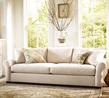Rowan Upholstered Sofa, Polyester Wrap Cushions, Linen Silver Taupe traditional-sofas