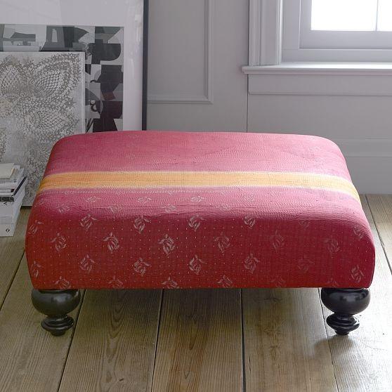 Essex Kantha Ottoman - Crimson modern-footstools-and-ottomans