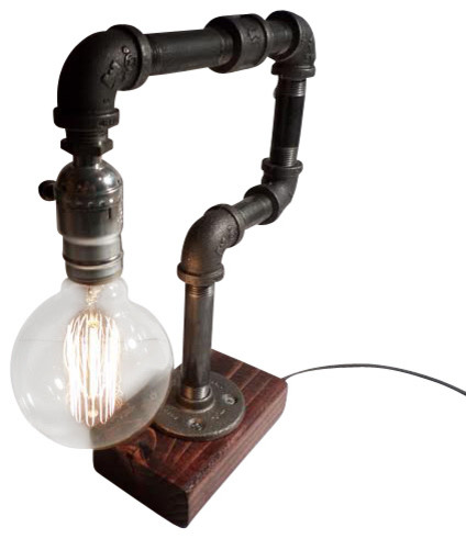 Rustic Industrial Edison Bulb Lamp - includes Bulb, Red Mahogany - Industrial - Table Lamps - by ...