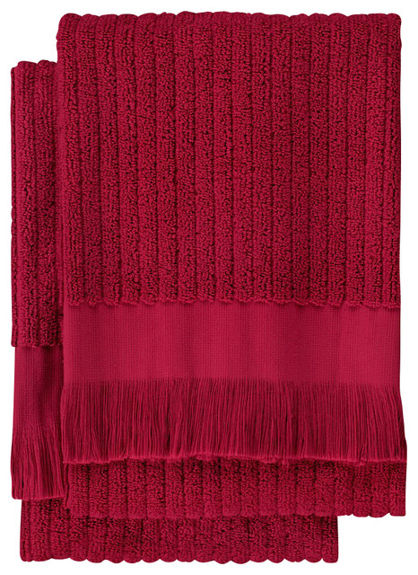Ribbed Hand Towel (Set of 2), Cranberry contemporary-towels