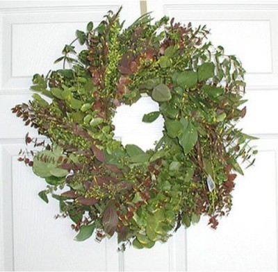 17 in. Blush Eucalyptus Wreath modern-outdoor-holiday-decorations