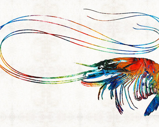 Animals, Fish and Birds - Colorful Shrimp Art by Sharon Cummings