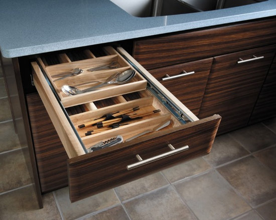 Getting Organized with Fieldstone Cabinetry - Cutlery divider being used to keep small items organized