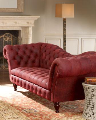 Berry Leather Recamier Sofa traditional-sofas