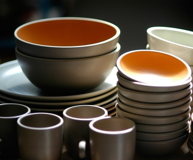 Heath Ceramics coupe line in persimmon french grey modern-kitchen-products