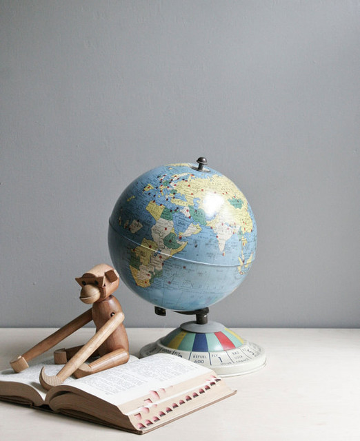 Vintage Metal Globe by Oh, Albatross traditional-kids-decor