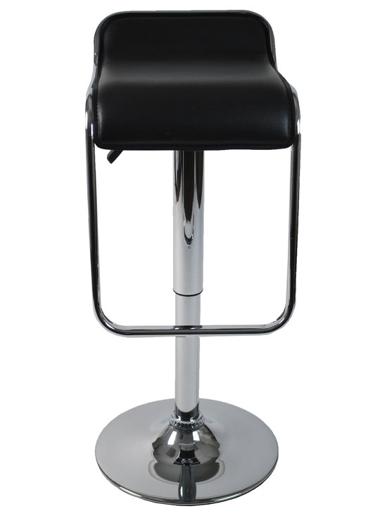 Eurostyle - Furgus Adjustable Bar/Counter Stool-Black/Chrome - This handsome chair features a refined backrest and a sleek seating area that dips toward the glossy footrest. It also features a durable circular base, which makes swiveling nice and easy for you.