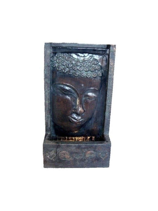 Buddha Face Wall Fountain with Underwater Light -