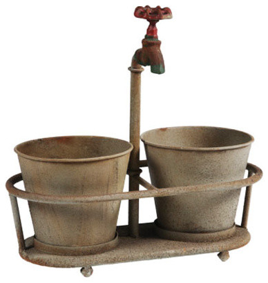Rusty Faucet Planter modern-indoor-pots-and-planters