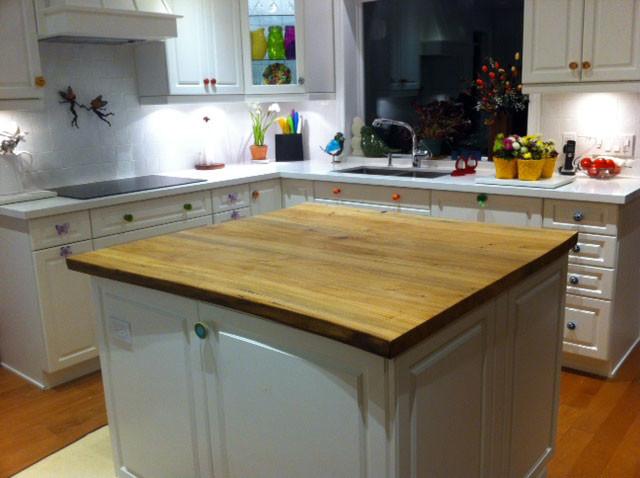 Reclaimed elm live edge slab kitchen island top for Live edge kitchen island