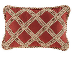 """Austin Horn Collection Silk Pillow with Lattice, 13"""" x 19"""" traditional-decorative-pillows"""