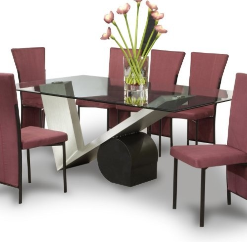 Chintaly Jennifer Rectangular Glass Top Table contemporary-dining-tables