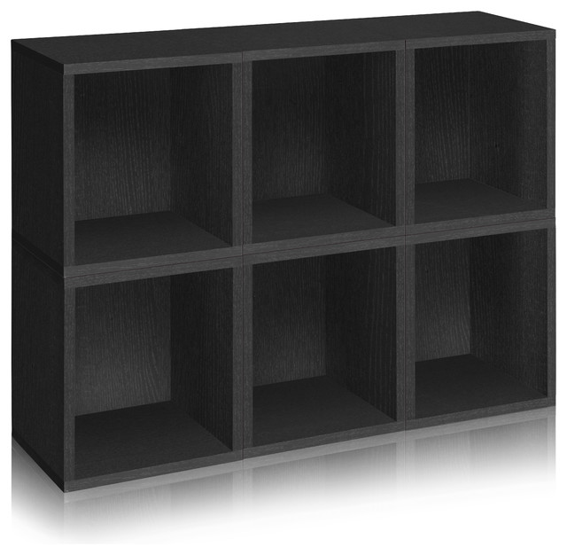 Way Basics Stackable Storage 6 Cubes Plus, Black modern-storage-units-and-cabinets