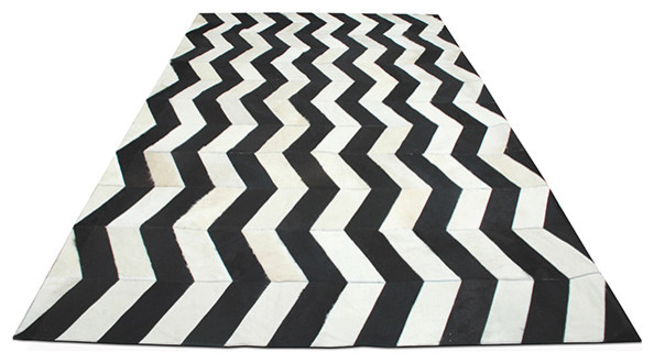herringbone cowhide rug black white modern rugs by horne