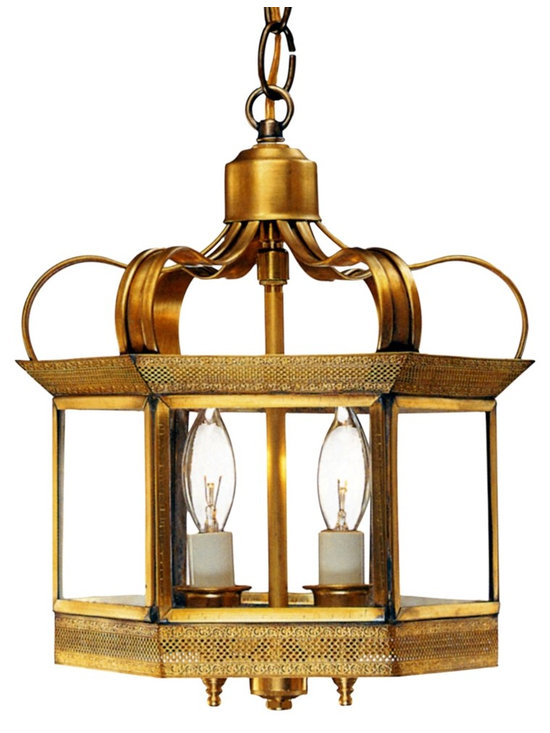 Princeton Hanging Copper Lantern - Pendant Style Indoor Light by Lanternland - The Princeton Hanging Mount Copper Lantern, shown in Antique Brass with Clear Glass, is made in America from the highest quality brass and copper for maximum strength and durability. Available in a variety of size, finish and glass options, the classic elegant style works well with Traditional, Cape Cod, Colonial and Colonial Revival style homes, lake homes and cabins.