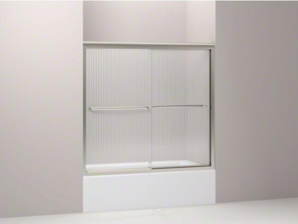 "KOHLER Fluence(R) sliding bath door, 55-3/4"" H x 56-5/8 - 59-5/8"" W, with 1/4"" t contemporary-bath-products"