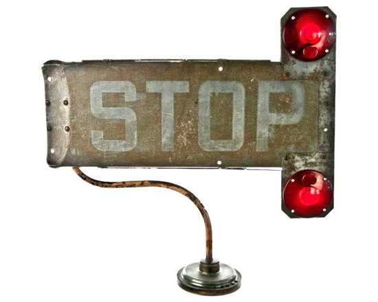 School Bus Stop Lamp - Relive those fall back-to-school days with this repurposed vintage stop sign arm by Salvatecture Studio.