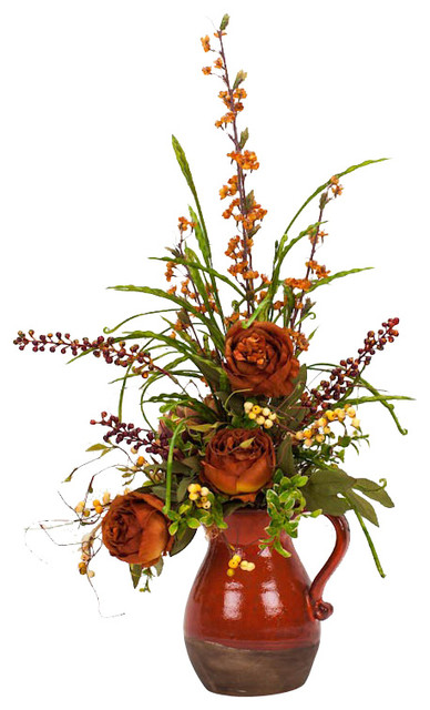 Peony in Pitcher Silk Flower Arrangement traditional-artificial-flowers