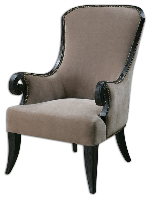 Kandy Taupe Armchair - Traditional - Armchairs And Accent ...